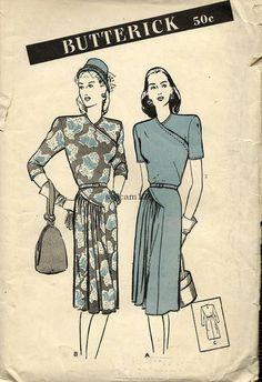 Vintage abito anni ' 40 Pattern Wrap lato corpetto a pieghe raccolte gonna curvo cuciture 1945 cartamodelli 3509 busto 30 UNCUT di sydcam123 su Etsy https://www.etsy.com/it/listing/215261787/vintage-abito-anni-40-pattern-wrap-lato