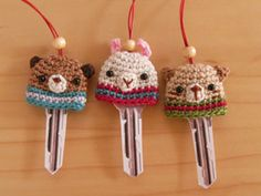 Cute key cozy's.. no pattern but idea is cute