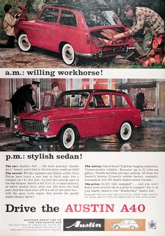 1960 Austin A-40 2-Door Sedan original vintage advertisement. A willing workhorse and a stylish sedan! British engineers and Pinin Farina have found a way to build space into a compact car! Result: a full 19 cu. ft. of cargo capacity, all below window level. With the same lively engine that powers the Austin Healey Sprite! The price: $1,675 fully equipped.