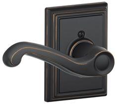 Schlage F170-FLA-ADD-LH Flair Left Handed Single Dummy Door Lever with Decorativ Aged Bronze Leverset Single Dummy
