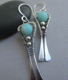 Amazonite Earrings/ Silver Wire Earrings/ Silver Earrings by mese9