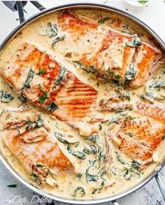 Creamy Garlic Butter Tuscan Salmon (OR TROUT) is such an incredible recipe! Restaurant quality ...