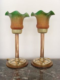 Antiques Atlas - Pair Of Art Nouveau Brass And Copper Table Lamps