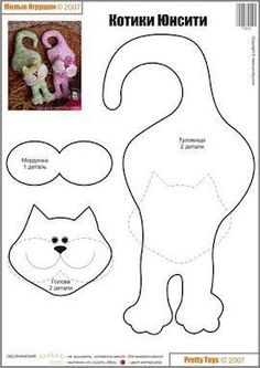 6 Best Images of Free Printable Sewing Patterns Cat - Free Printable Stuffed Cat Pattern, Free Stuffed Cat Pattern and Cat Stuffed Animal Sewing Patterns Free Felt Patterns, Applique Patterns, Sewing Patterns Free, Free Sewing, Cat Applique, Sewing Toys, Sewing Crafts, Sewing Projects, Fabric Toys