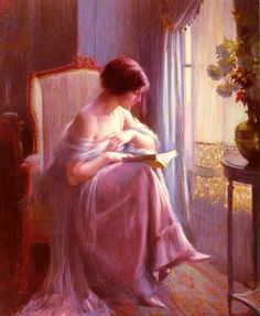 A Quiet Sunday: A Young Woman Reading by a Window, and the painter is Delphin Enjorlas