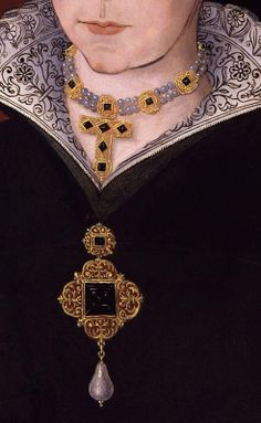 Queen Mary (detail), by Hans Eworth (Flemish, Renaissance Jewelry, Medieval Jewelry, Medieval Clothing, Renaissance Art, Renaissance Portraits, Renaissance Paintings, Victorian Portraits, Royal Jewels, Crown Jewels