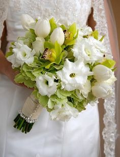 Gardenia and Tulips Bouquet - White Wedding Bouquets Pictures