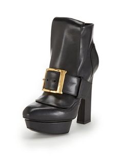Alexander McQueen Leather Platform Buckle Ankle Bootie