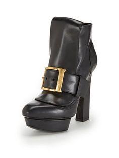 Alexander McQueen Leather Platform Buckle Ankle Bootie