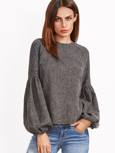"""Our super cute Lantern Sleeve top is the next big trend this Fall. Available in two amazing classic colors that is sure to pair great with whatever you decide! All eyes will be on you and have everyone thinking that your top is truly """"Unbe-sleeve-able""""! 100% Polyester Keyhole Back"""