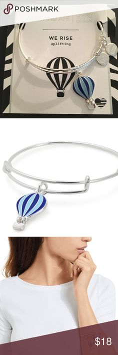 "Alex & Ani Silver Hot Air Balloon Bangle EXCLUSIVE! Currently out of stock online!   Name: We Rise Charm Bangle | Global Citizen Collection: Charity by Design Expandable from 2"" to 3.5"" Crafted in Shiny Silver finish  The basket on the balloon dangles! Alex and Ani Jewelry Bracelets"