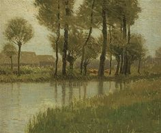 """""""Environs of Bruges,"""" Charles Warren Eaton, oil on canvas, 20 x 24"""", private collection."""