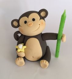 Monkey Cake topper by SugaryLand on Etsy