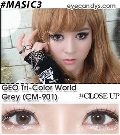 GEO Tri Color World Gray color contact lens