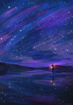 Tagged with art, sky, phone wallpaper; Fantasy Landscape, Fantasy Art, Art Galaxie, Ciel Art, Japon Illustration, Illustration Artists, Sky Art, Galaxy Art, Anime Scenery