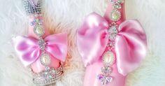 Pink Bow Swarovski Champagne Bottle - Mommy and Me Glam Bottle - Baby Shower Gift - Unique Bridal Shower Gift - Baby Girl Keepsake Gifts by Champag… | Pinterest