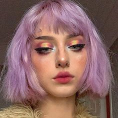 makeup eyeshadow products tutorial aesthetic tips looks ideas glam prom for teen. make-up li Short Curly Hair, Curly Hair Styles, Short Pastel Hair, Curly Purple Hair, Short Grunge Hair, Short Colorful Hair, Peachy Pink Hair, Colored Short Hair, Short Bleached Hair