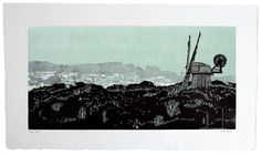 """""""Good Morning Sunset"""" / view from the dunes at the end of Irving Street; Murphy Windmill, Golden Gate Park, San Francisco - linocut print - Eric Rewitzer, U.S.A."""