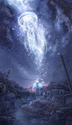 Dramatical murder clear love this wallpaper anime wallpapers in Fantasy World, Fantasy Art, Manga Art, Anime Art, Sky Anime, Creation Art, Dramatical Murder, Anime Scenery, Constellations