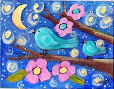 Love this happy bluebirds in the moonlight original by giftsofcreation, $20.00 CLICK It!!