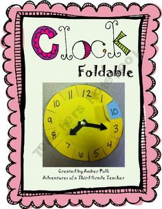foldable clock template to help teaching time maths Teaching Time, Teaching Math, Help Teaching, Teaching Reading, Math Resources, Math Activities, Clock Template, Math Measurement, Second Grade Math