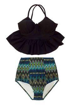 Black Long Peplum Top and Aztec Tribute High waisted waist Shorts Bottom Bikini set Swimsuit Swimwear Swim wear Bathing suit dress S M L XL by venderstore on Etsy