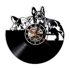 wall clock design 596375175640880406 - French Bulldog Dog Vinyl Record Wall Clock Modern Design Animal Pet Puppy Wall Clock Relogio De Parede Bulldog Lover Gift Source by homeelx 3d Wall Clock, Vinyl Record Clock, Vinyl Records, Record Wall, Wall Art, Wall Decor, Vinyl Music, Clock Decor, Room Decor