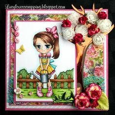 """Welcome to Artbymiran's Challenges It's time for our """"Anything Goes"""" Challenge Congratulations to our winner, Top 3 and GDT in. Whimsy Stamps, Beautiful Handmade Cards, Gift Certificates, Color Card, Hand Coloring, Greeting Cards Handmade, New Art, Illustrators, Congratulations"""