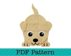 Puppy Dog Applique Pattern, PDF Template, Applique Designs, Baby