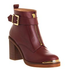 Office Front Zip Burgundy Leather Ankle Boots