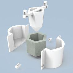 Moldes Para Macetas De Cemento, Plastico, 4 Unidades N8 - $ 3.600,00 en Mercado Libre Concrete Casting, Concrete Cement, Concrete Projects, Concrete Design, Architectural Plants, Architectural Sculpture, 3d Printing Diy, Cement Art, Mould Design