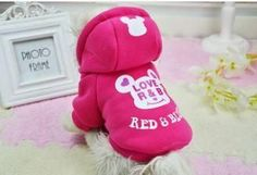 2015 Free shipping Dog Clothes Cartoon Bear Hoodie Warm Sweater Puppy Coat Apparel Pet Product Size:XS-2XL