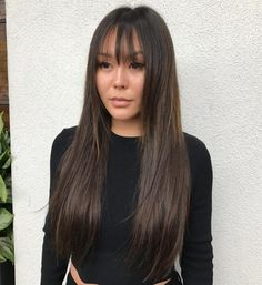 Long Hair With Straight Bangs