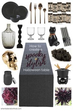 Five-step guide to creating a spooky and stylish Halloween table and hosting a sophisticated Halloween dinner party from When It Alteration Finds. Halloween Table Settings, Halloween Table Decorations, Halloween Party Decor, Halloween Themes, Halloween Signs, Witch Party, Halloween Candy, Halloween Dinner, Halloween Birthday