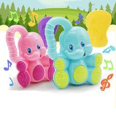 1pc Kawaii Deer Elephant Animal Plastic Hand Jingle Shaking Bell Rattles Toddler Educational Musical Kids Baby Toys for Children