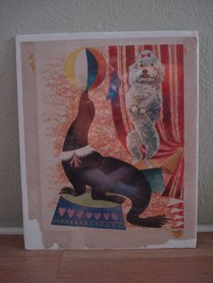 Vintage 1950s Poodle and Seal Print Penn Prints by bycinbyhand, $20.00