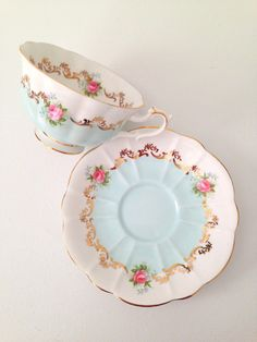 Rare English Bone China Royal Albert Teacup & Saucer Invitation Series Chateau Blue--c.1962-1970s
