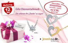 Schenken Sie zum Muttertag Diamantschmuck als ganz besonderes Dankeschön! In unserem Online Schmuck Shop www.jewels24.de finden Sie eine tolle Auswahl an edlem Diamantschmuck und genau das richtige Geschenk für Ihre Mutter. Ein Geschenk das von Herzen kommt. #diamantschmuck #geschenkidee #muttertag #schmuck #geschenk