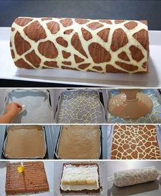 Wonderful DIY Swiss Roll Cake With Giraffe Pattern Be honest – this is the first time you've ever seen a giraffe pattern on a cake, right? This Swiss Roll looks like the kind of confectionery masterpiece Cake Roll Recipes, Dessert Recipes, Desserts Diy, Health Desserts, Easy Recipes, Food Cakes, Cupcake Cakes, Bolo Original, Swiss Roll Cakes