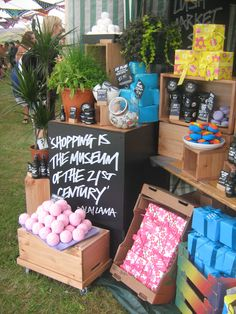 Great 'blackboard' style pricing and display - Market Stall - LUSHFest 2011