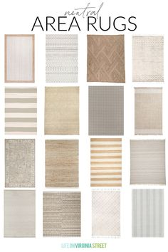A collection of neutral rugs with a variety of patterns and textures. Love this roundup of gorgeous, neutral area rugs for any room in your home! Romantic Shabby Chic, Shabby Chic Cottage, Life On Virginia Street, Blogger Home, Affordable Rugs, French Decor, Home Decor Trends, Vintage Home Decor, Home Improvement