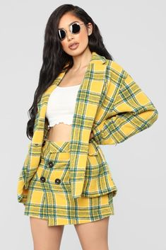 Shop matching sets for women, two piece outfits with pants, shorts and skirts and cute co-ord sets for work-worthy looks, dynamite daytime styles and knock-out night ensembles. Plaid Outfits, Crop Top Outfits, Casual Winter Outfits, Kpop Outfits, Dressy Outfits, Teen Fashion Outfits, Sexy Outfits, Cute Outfits, Yellow Plaid Skirt