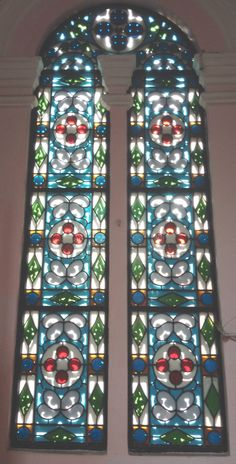 Church nha tho tan dinh Vietnam stained glass interior windows gorgeous !