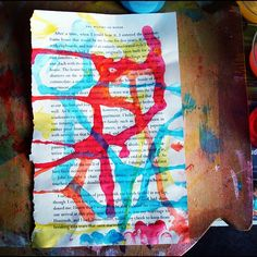 """Ripping out pages from an old book and adding color... Fun! #color #artjournal"""