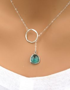 Emerald Drop and Ring Necklace in STERLING SILVER. $26.00, Etsy.