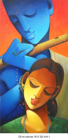 Untitled Painting Figurative, Painting for wall decor Indian Art Gallery, India Painting, Mini Canvas Art, Indian Folk Art, Krishna Painting, India Art, Krishna Radha, Art N Craft, Acrylic Paintings