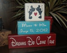 Mickey and Minnie Mouse Wedding PERSONALIZED Marriage Family Names Wedding Date Established Date Wood Sign Blocks Primitive Country Rustic. $28.95, via Etsy.