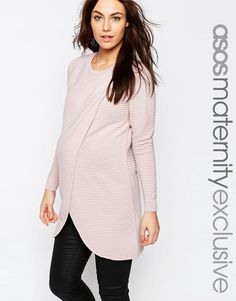 ASOS Maternity NURSING Wrap Over Sweater In Textured Stripe With 3/4 Sleeve
