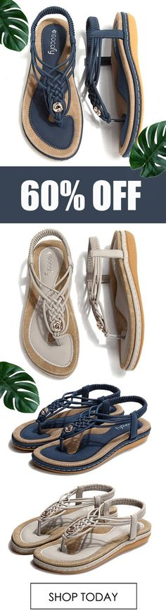 SHOP NOW! Pick Up This SOCOFY Knitting Clip Toe Elastic Flat Sandals For The Coming Summer.Worldwide Shipping.Size US 5 To US 13. #sandals#Summer Shoes#fashion#Beach Shoes