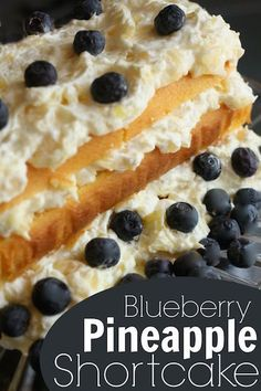 Filled with fluffy, creamy vanilla and topped with fresh berries, this light and refreshing blueberry pineapple shortcake is always a hit with all ages!
